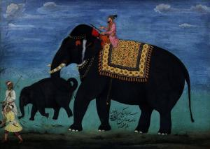 Elephant and cub out of the stable of the Moghul ruler