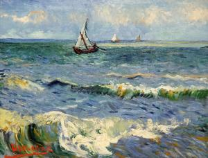 The Sea at Les Saintes-Maries-de-la-Mer, Vincent van Gogh