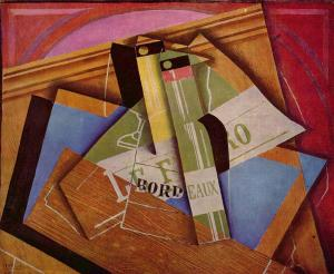 Still life with bottle of Bordeaux, Juan Gris