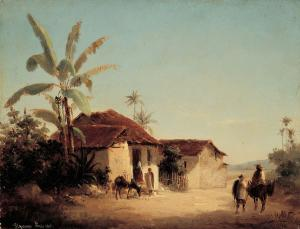 Tropical landscape with houses and palm trees, Pissarro