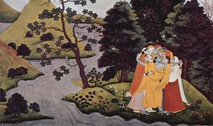 Krishna embraces Gopis