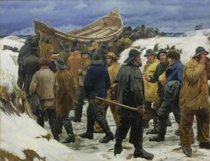 The Lifeboat is Taken through the Dunes, Michael Ancher