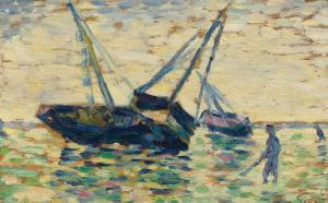 Three Boats at the Sea, Georges Seurat