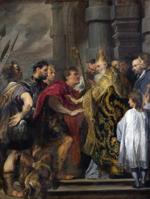 Saint Ambrose barring Theodosius, Anthony van Dyck