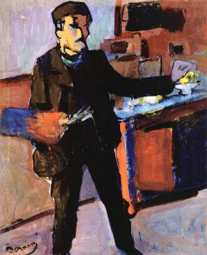 Self-portrait in studio, André Derain