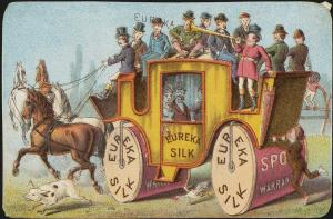 Eureka Silk advertising card, 1870