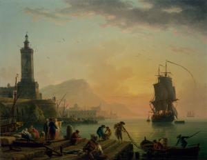 A Calm at a Mediterranean Port, Claude Joseph Vernet
