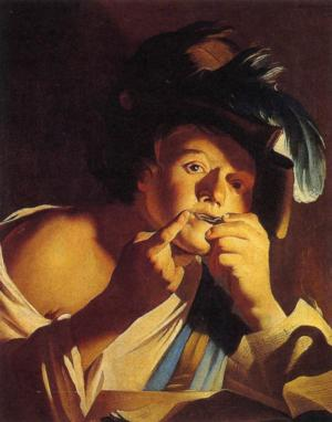 Man Playing a Jew's Harp, Dirck van Baburen