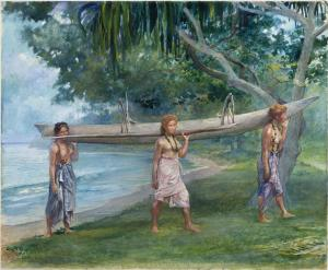 Girls Carrying a Canoe, La Farge