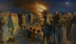 Midsummer Eve Bonfire on Skagen Beach, Peder Severin Krøyer