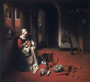 Woman Plucking a Duck, Nicolaes Maes