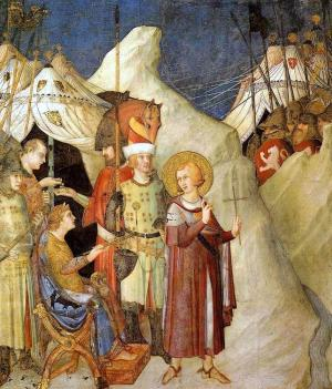 St Martin renounces the army, Simone Martini