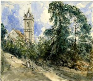 Tillington Church, with path, John Constable