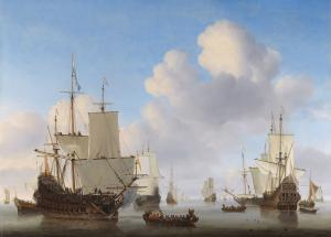 Dutch men-o'-war and other shipping in a calm, Van de Velde