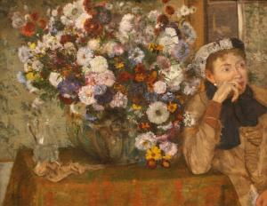 Woman Seated beside a Vase of Flowers, Edgar Degas