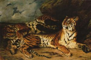 A Young Tiger Playing with its Mother, Delacroix
