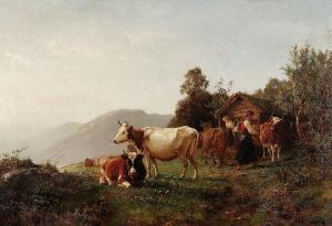 Summer landscape with cows, Anders Askevold